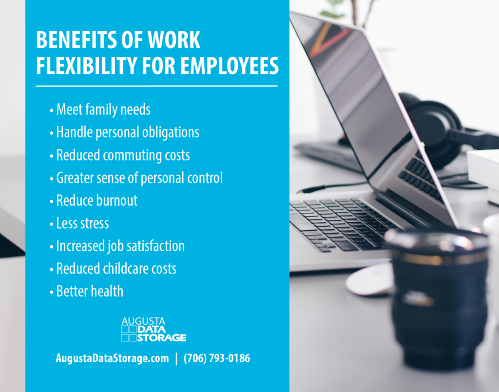 BENEFITS OF WORK FLEXIBILITY FOR EMPLOYEES • Meet family needs • Handle personal obligations • Reduced commuting costs • Greater sense of personal control • Reduce burnout • Less stress • Increased job satisfaction • Reduced childcare costs • Better health