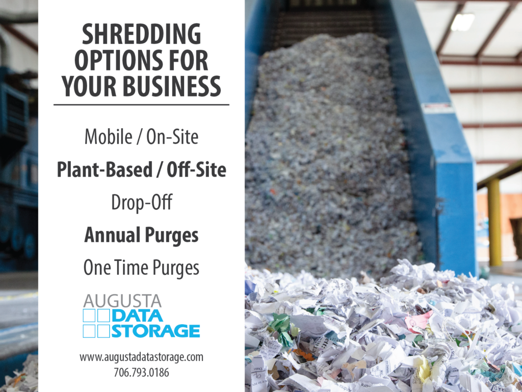 Shredding Options for your Business: mobile/on-site, plant-based/off-site, drop-off, annual purges, and one time purges.